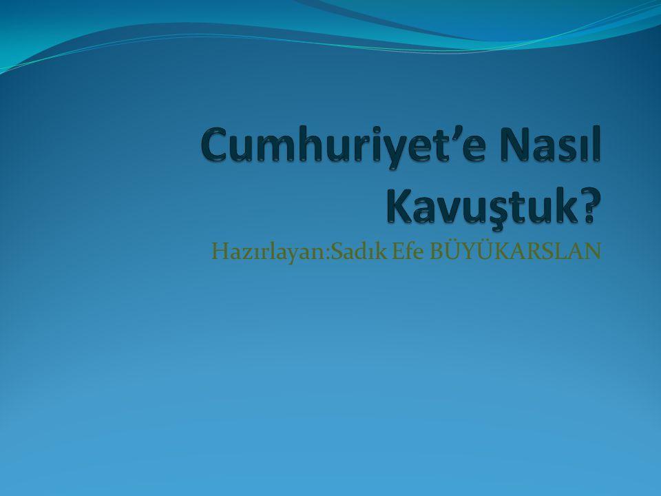 22 Haziran 1919 Amasya Genelgesi 19 Mayıs 1919 Atatürk'ün Samsun'a Çıkışı 23 Temmuz 1919 Erzurum Kongresi 4 Eylül 1919 Sivas Kongresi 23 Nisan 1920 TBMM Açılışı 10 Ocak 1921 1.