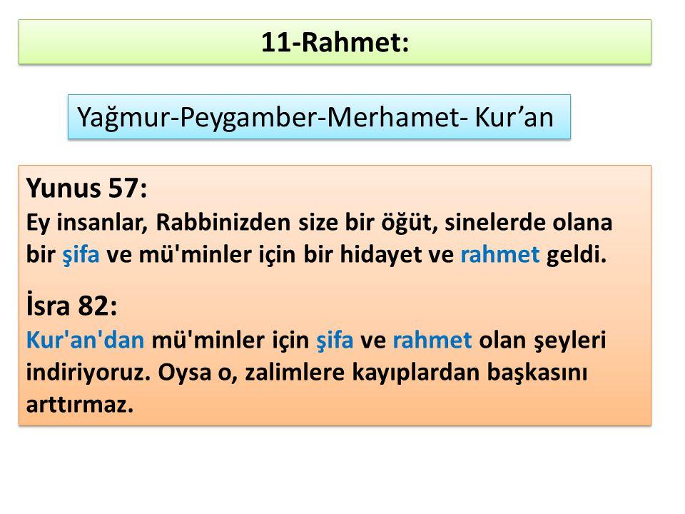 11-Rahmet: Yağmur-Peygamber-Merhamet- Kur'an Yunus 57: Ey insanlar, Rabbinizden size bir öğüt, sinelerde olana bir şifa ve mü'minler için bir hidayet