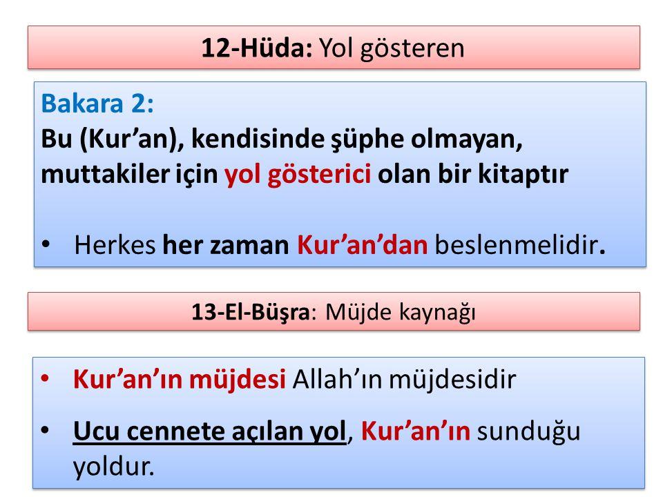 Bakara 2: Bu (Kur'an), kendisinde şüphe olmayan, muttakiler için yol gösterici olan bir kitaptır Herkes her zaman Kur'an'dan beslenmelidir. Bakara 2: