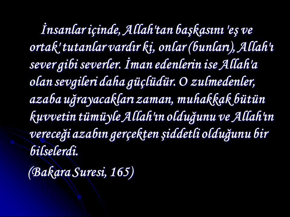 İnsanlar içinde, Allah tan başkasını eş ve ortak tutanlar vardır ki, onlar (bunları), Allah ı sever gibi severler.