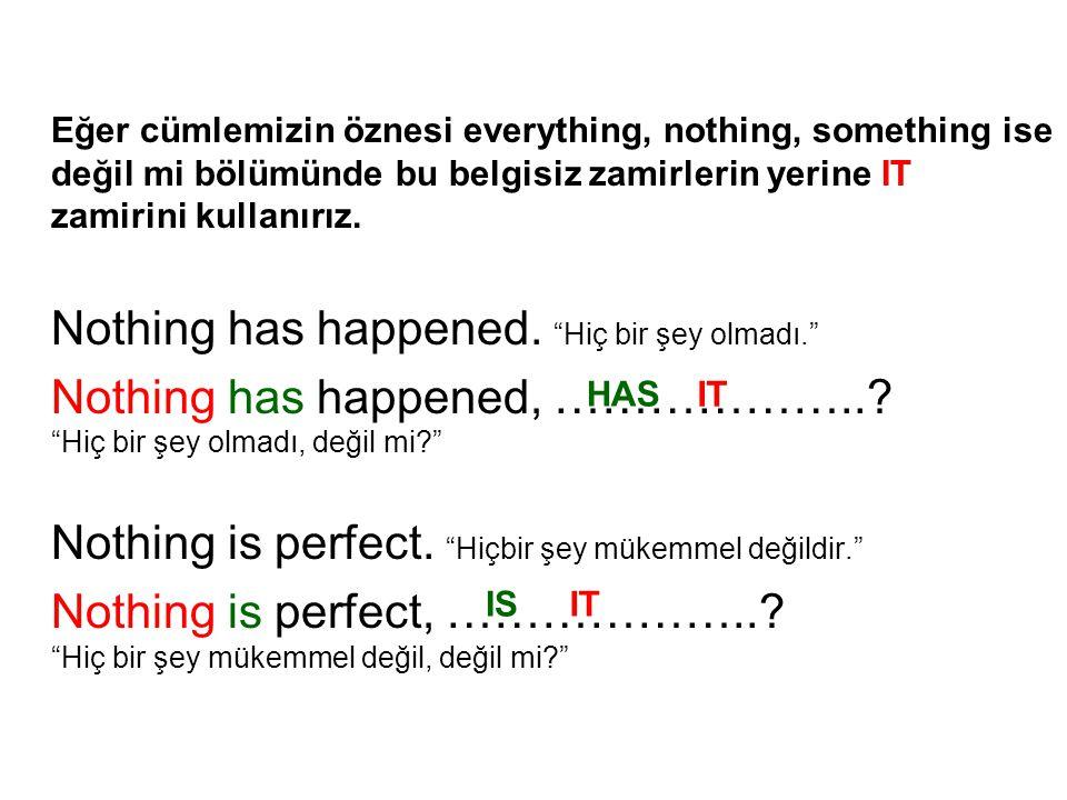Eğer cümlemizin öznesi everything, nothing, something ise değil mi bölümünde bu belgisiz zamirlerin yerine IT zamirini kullanırız. Nothing has happene