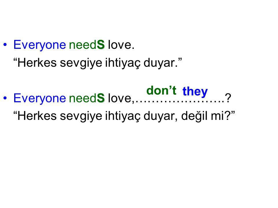 """SEveryone needS love. """"Herkes sevgiye ihtiyaç duyar."""" SEveryone needS love,………………….? """"Herkes sevgiye ihtiyaç duyar, değil mi?"""" don't they"""