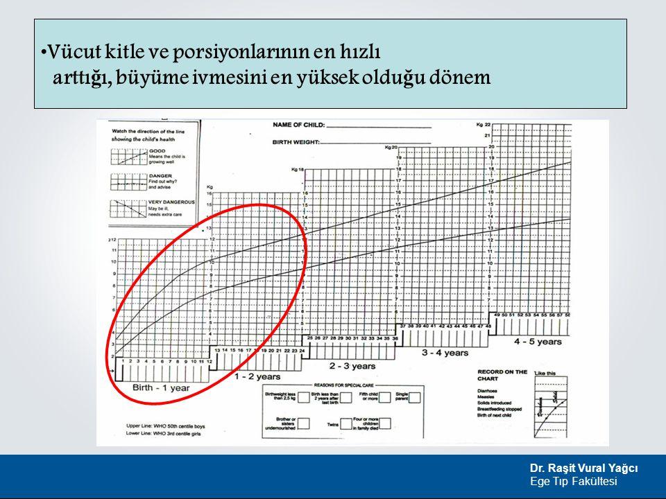 Dr. Raşit Vural Yağcı Ege Tıp Fakültesi Vücut kitle ve porsiyonlarının en hızlı arttı ğ ı, büyüme ivmesini en yüksek oldu ğ u dönem