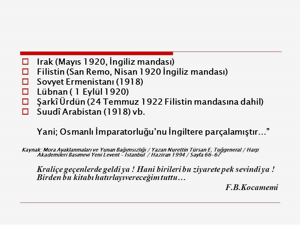  Irak (Mayıs 1920, İngiliz mandası)  Filistin (San Remo, Nisan 1920 İngiliz mandası)  Sovyet Ermenistanı (1918)  Lübnan ( 1 Eylül 1920)  Şarkî Ürdün (24 Temmuz 1922 Filistin mandasına dahil)  Suudî Arabistan (1918) vb.