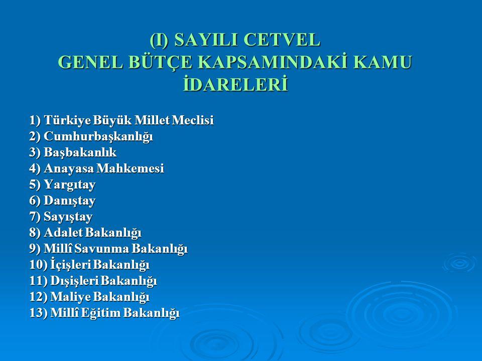 (I) SAYILI CETVEL GENEL BÜTÇE KAPSAMINDAKİ KAMU İDARELERİ 1) Türkiye Büyük Millet Meclisi 2) Cumhurbaşkanlığı 3) Başbakanlık 4) Anayasa Mahkemesi 5) Y
