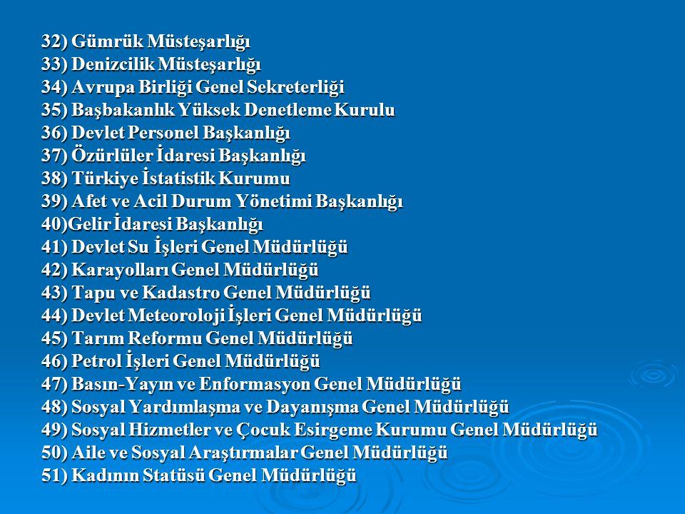 32) Gümrük Müsteşarlığı 33) Denizcilik Müsteşarlığı 34) Avrupa Birliği Genel Sekreterliği 35) Başbakanlık Yüksek Denetleme Kurulu 36) Devlet Personel