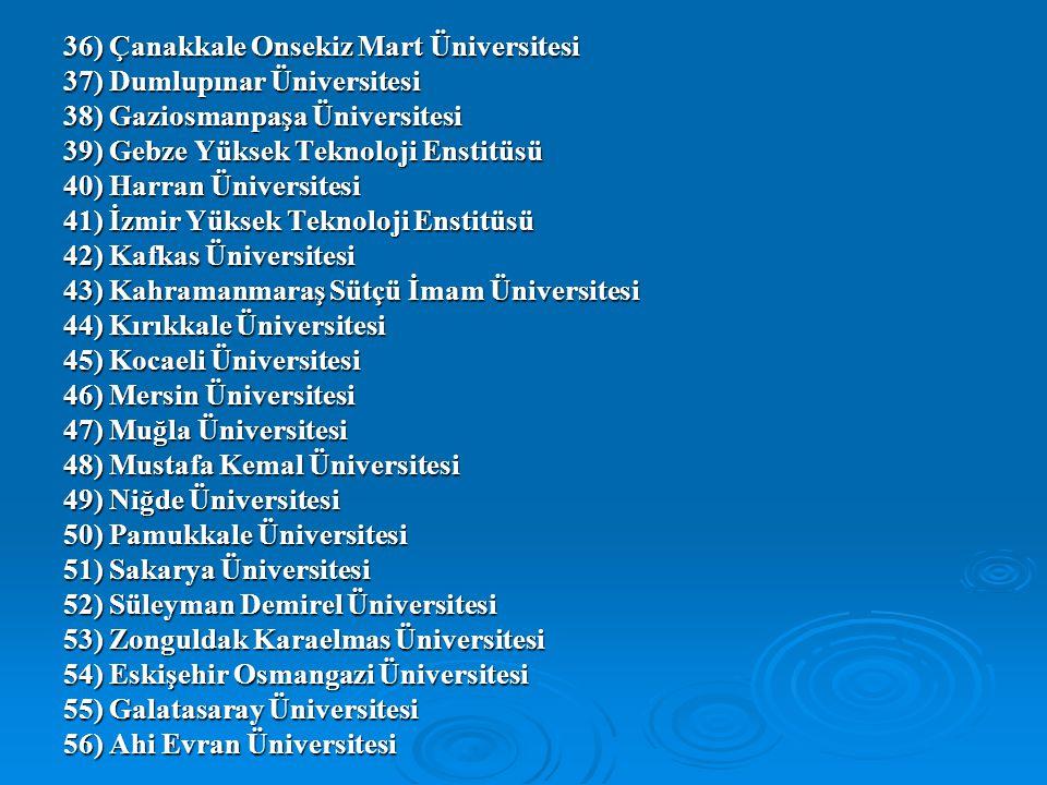 36) Çanakkale Onsekiz Mart Üniversitesi 37) Dumlupınar Üniversitesi 38) Gaziosmanpaşa Üniversitesi 39) Gebze Yüksek Teknoloji Enstitüsü 40) Harran Üni
