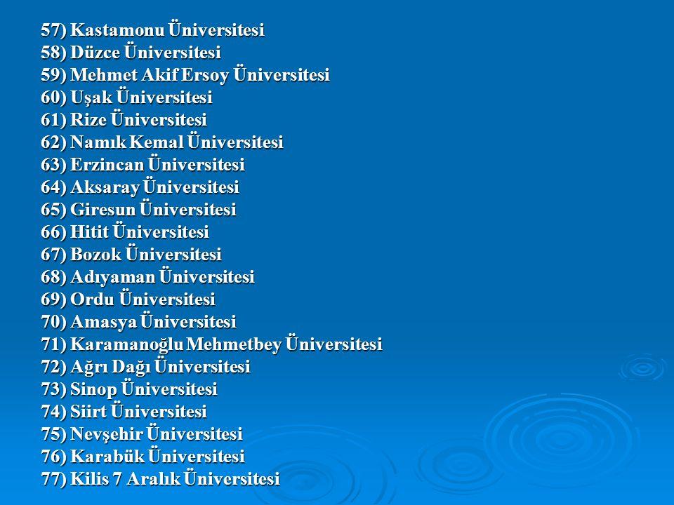 57) Kastamonu Üniversitesi 58) Düzce Üniversitesi 59) Mehmet Akif Ersoy Üniversitesi 60) Uşak Üniversitesi 61) Rize Üniversitesi 62) Namık Kemal Ünive