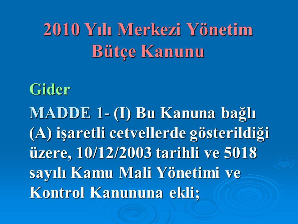 2010 Yılı Merkezi Yönetim Bütçe Kanunu Gider MADDE 1- (I) Bu Kanuna bağlı (A) işaretli cetvellerde gösterildiği üzere, 10/12/2003 tarihli ve 5018 sayı