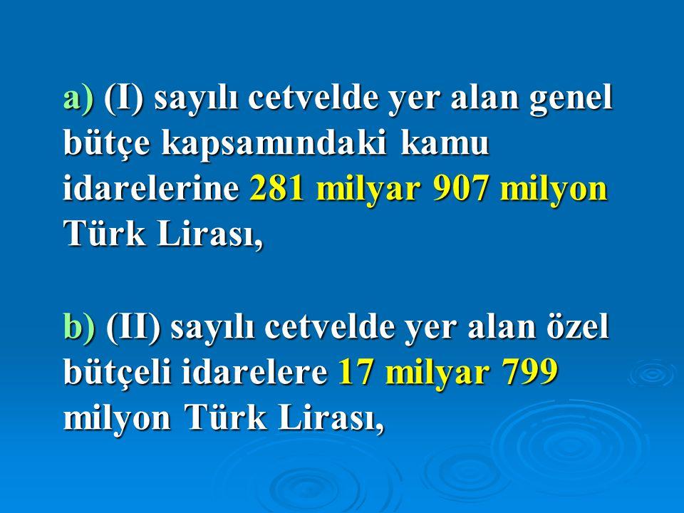a) (I) sayılı cetvelde yer alan genel bütçe kapsamındaki kamu idarelerine 281 milyar 907 milyon Türk Lirası, b) (II) sayılı cetvelde yer alan özel büt