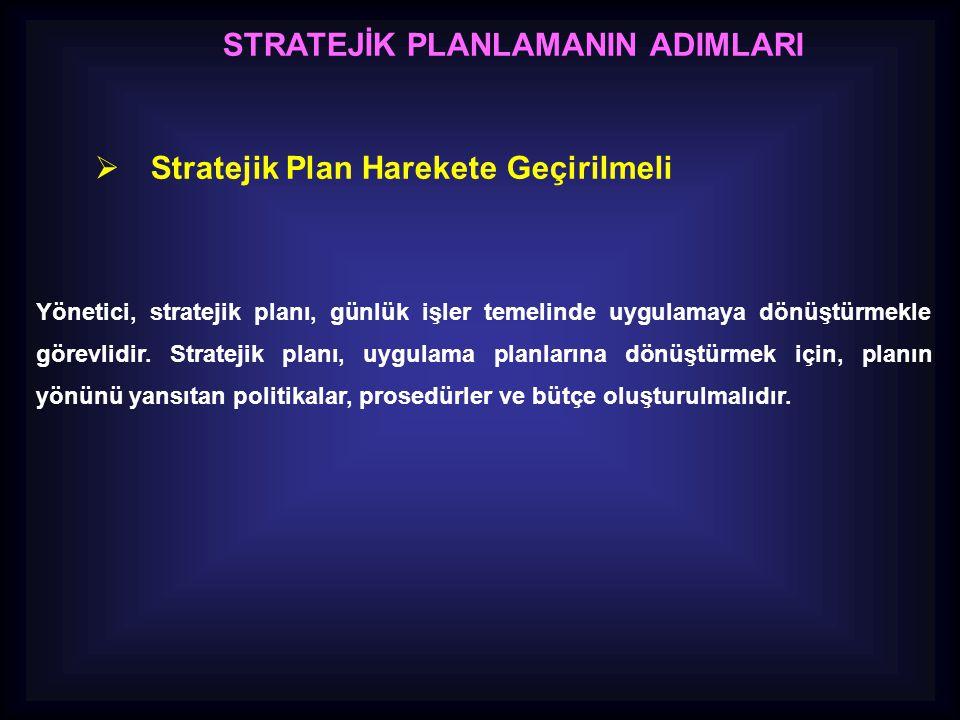 STRATEJİK PLANLAMANIN ADIMLARI  Stratejik Plan Harekete Geçirilmeli Yönetici, stratejik planı, günlük işler temelinde uygulamaya dönüştürmekle görevl