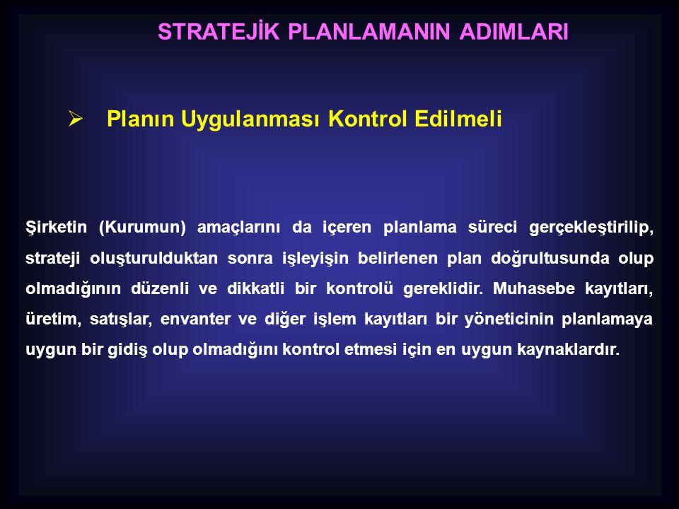 STRATEJİK PLANLAMANIN ADIMLARI  Planın Uygulanması Kontrol Edilmeli Şirketin (Kurumun) amaçlarını da içeren planlama süreci gerçekleştirilip, stratej