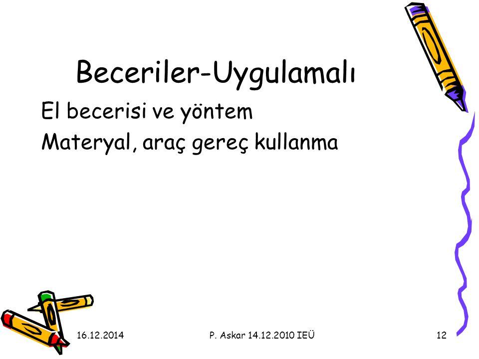Beceriler-Uygulamalı El becerisi ve yöntem Materyal, araç gereç kullanma 1216.12.2014P.