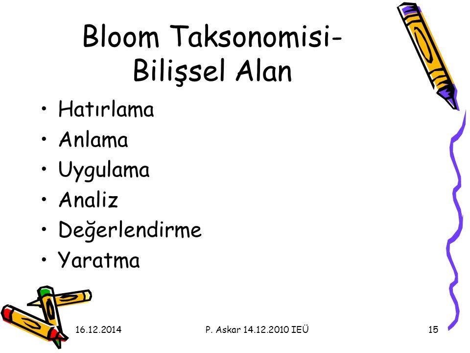 Bloom Taksonomisi- Bilişsel Alan Hatırlama Anlama Uygulama Analiz Değerlendirme Yaratma 1516.12.2014P.
