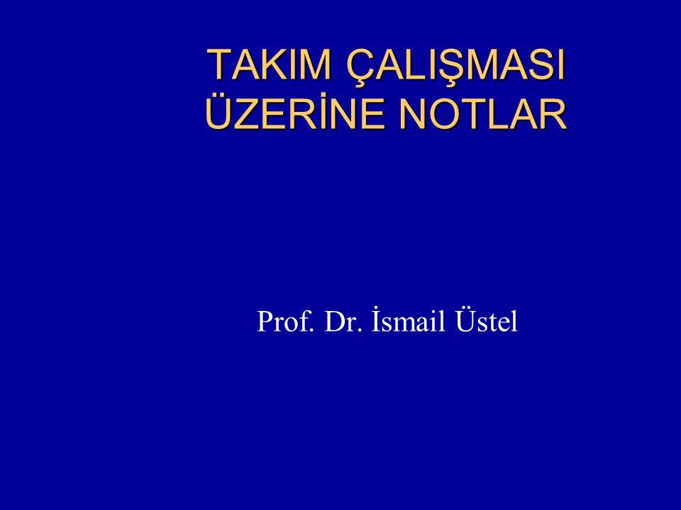 TAKIM ÇALIŞMASI ÜZERİNE NOTLAR Prof. Dr. İsmail Üstel