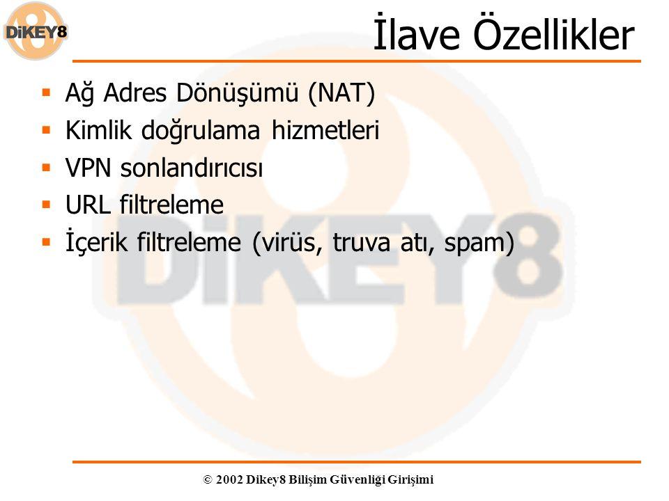 © 2002 Dikey8 Bilişim Güvenliği Girişimi İlave Özellikler  Ağ Adres Dönüşümü (NAT)  Kimlik doğrulama hizmetleri  VPN sonlandırıcısı  URL filtreleme  İçerik filtreleme (virüs, truva atı, spam)