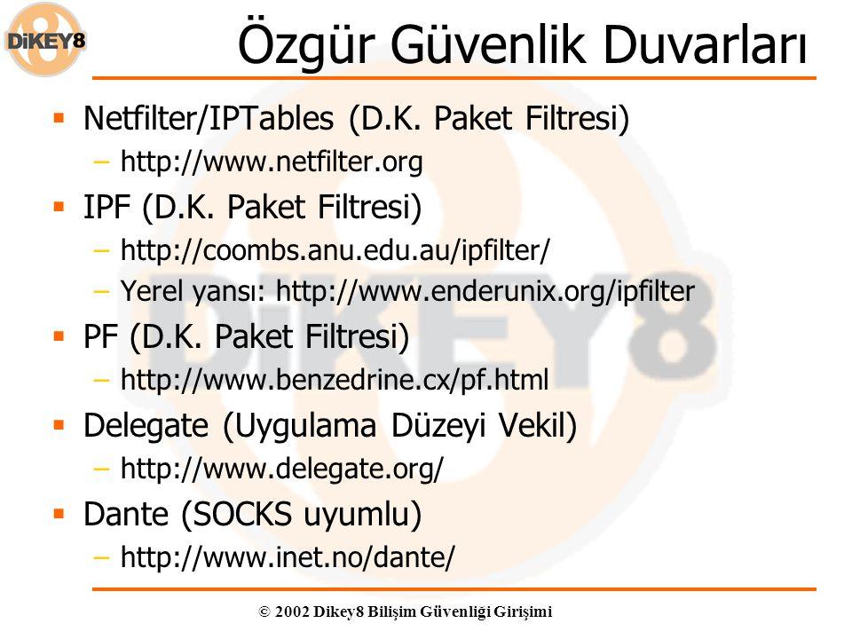 © 2002 Dikey8 Bilişim Güvenliği Girişimi Özgür Güvenlik Duvarları  Netfilter/IPTables (D.K.
