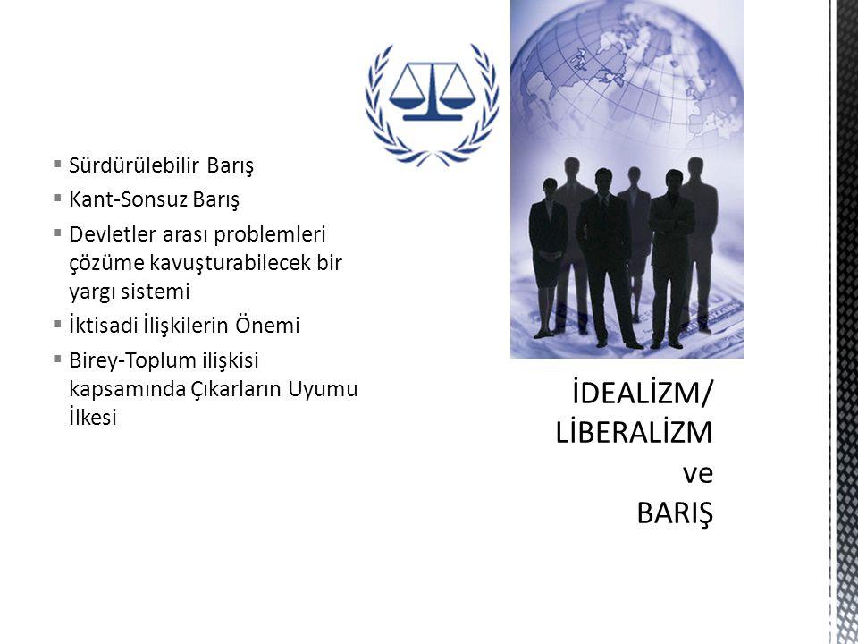  Sürdürülebilir Barış  Kant-Sonsuz Barış  Devletler arası problemleri çözüme kavuşturabilecek bir yargı sistemi  İktisadi İlişkilerin Önemi  Birey-Toplum ilişkisi kapsamında Çıkarların Uyumu İlkesi