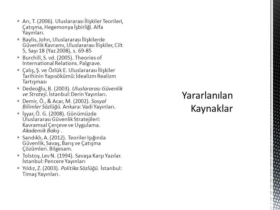  Arı, T. (2006). Uluslararası İlişkiler Teorileri, Çatışma, Hegemonya İşbirliği. Alfa Yayınları.  Baylis, John, Uluslararası İlişkilerde Güvenlik Ka