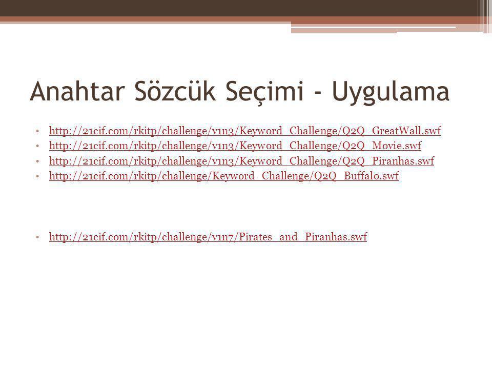 Anahtar Sözcük Seçimi - Uygulama http://21cif.com/rkitp/challenge/v1n3/Keyword_Challenge/Q2Q_GreatWall.swf http://21cif.com/rkitp/challenge/v1n3/Keywo