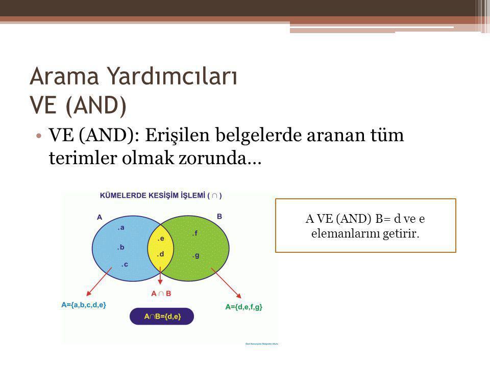 Arama Yardımcıları VE (AND) VE (AND): Erişilen belgelerde aranan tüm terimler olmak zorunda… A VE (AND) B= d ve e elemanlarını getirir.
