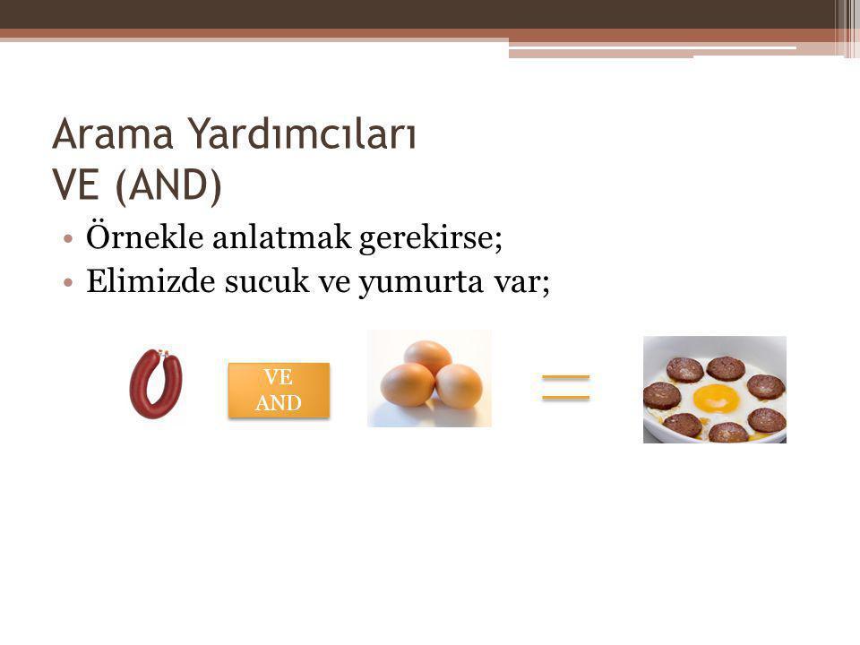 Arama Yardımcıları VE (AND) Örnekle anlatmak gerekirse; Elimizde sucuk ve yumurta var; VE AND VE AND