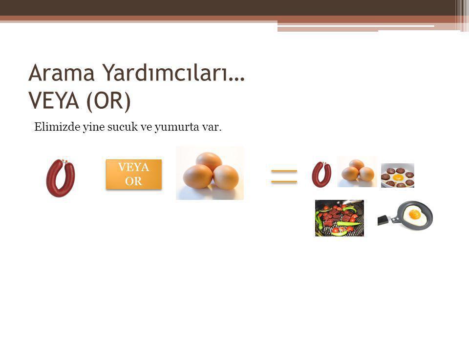 Arama Yardımcıları… VEYA (OR) Elimizde yine sucuk ve yumurta var. VEYA OR VEYA OR