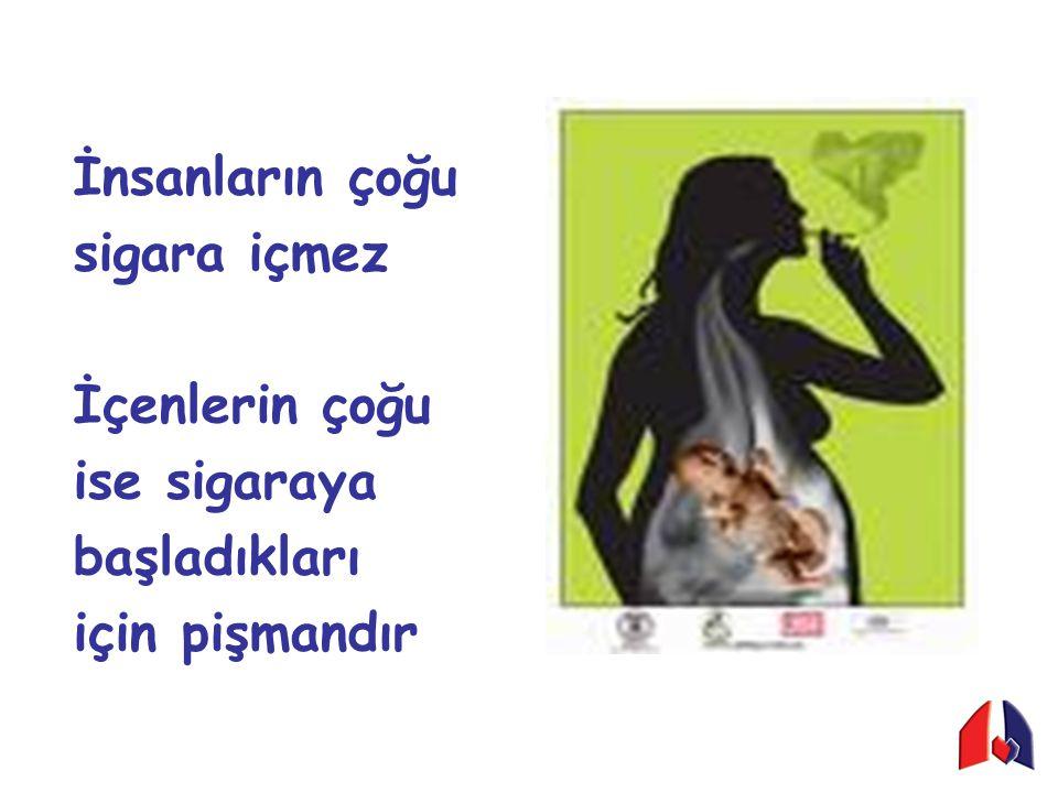 İnsanların çoğu sigara içmez İçenlerin çoğu ise sigaraya başladıkları için pişmandır