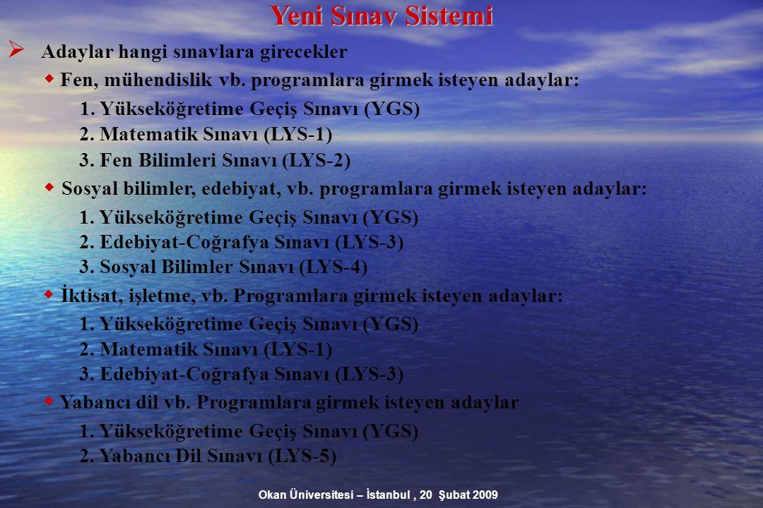 Okan Üniversitesi – İstanbul, 20 Şubat 2009 Yeni Sınav Sistemi  Adaylar hangi sınavlara girecekler  Fen, mühendislik vb.