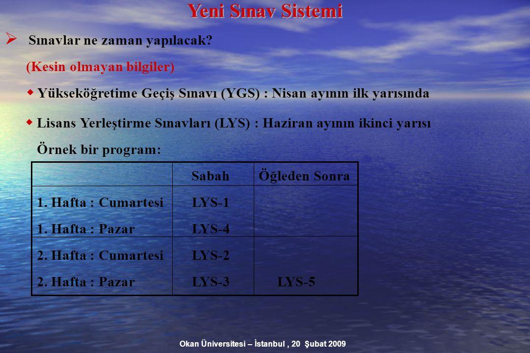 Okan Üniversitesi – İstanbul, 20 Şubat 2009 Yeni Sınav Sistemi  Sınavlar ne zaman yapılacak.