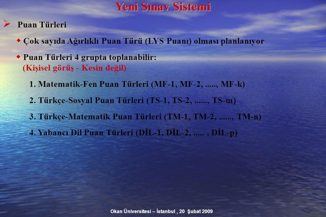 Okan Üniversitesi – İstanbul, 20 Şubat 2009 Yeni Sınav Sistemi  Puan Türleri  Çok sayıda Ağırlıklı Puan Türü (LYS Puanı) olması planlanıyor  Puan Türleri 4 grupta toplanabilir: (Kişisel görüş - Kesin değil) 1.