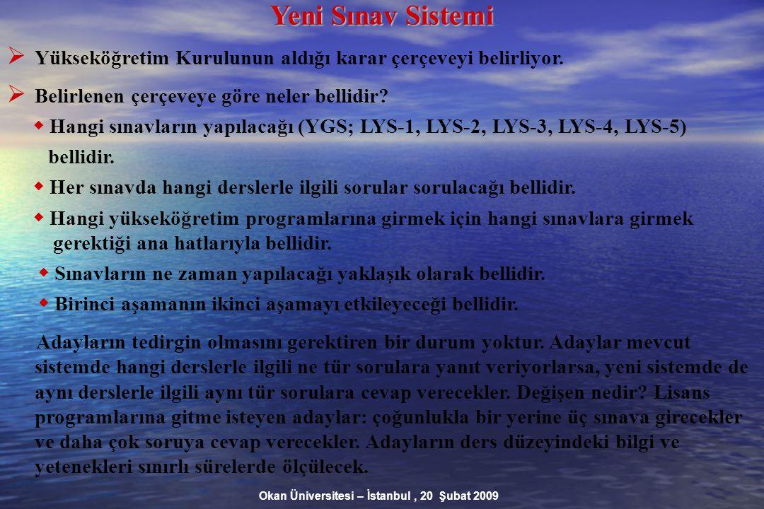 Okan Üniversitesi – İstanbul, 20 Şubat 2009 Yeni Sınav Sistemi  Yükseköğretim Kurulunun aldığı karar çerçeveyi belirliyor.