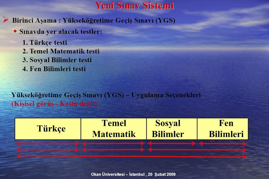 Okan Üniversitesi – İstanbul, 20 Şubat 2009 Yeni Sınav Sistemi  Birinci Aşama : Yükseköğretime Geçiş Sınavı (YGS)  Sınavda yer alacak testler: 1.