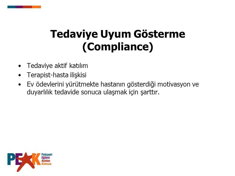 Tedaviye Uyum Gösterme (Compliance) Tedaviye aktif katılım Terapist-hasta ilişkisi Ev ödevlerini yürütmekte hastanın gösterdiği motivasyon ve duyarlıl