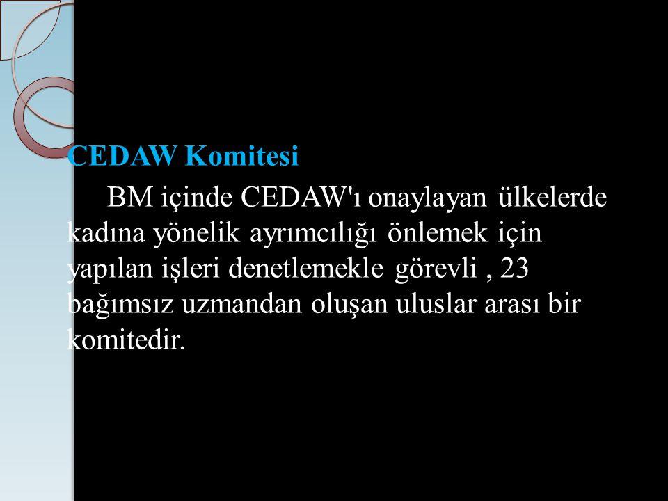 CEDAW Komitesi BM içinde CEDAW'ı onaylayan ülkelerde kadına yönelik ayrımcılığı önlemek için yapılan işleri denetlemekle görevli, 23 bağımsız uzmandan