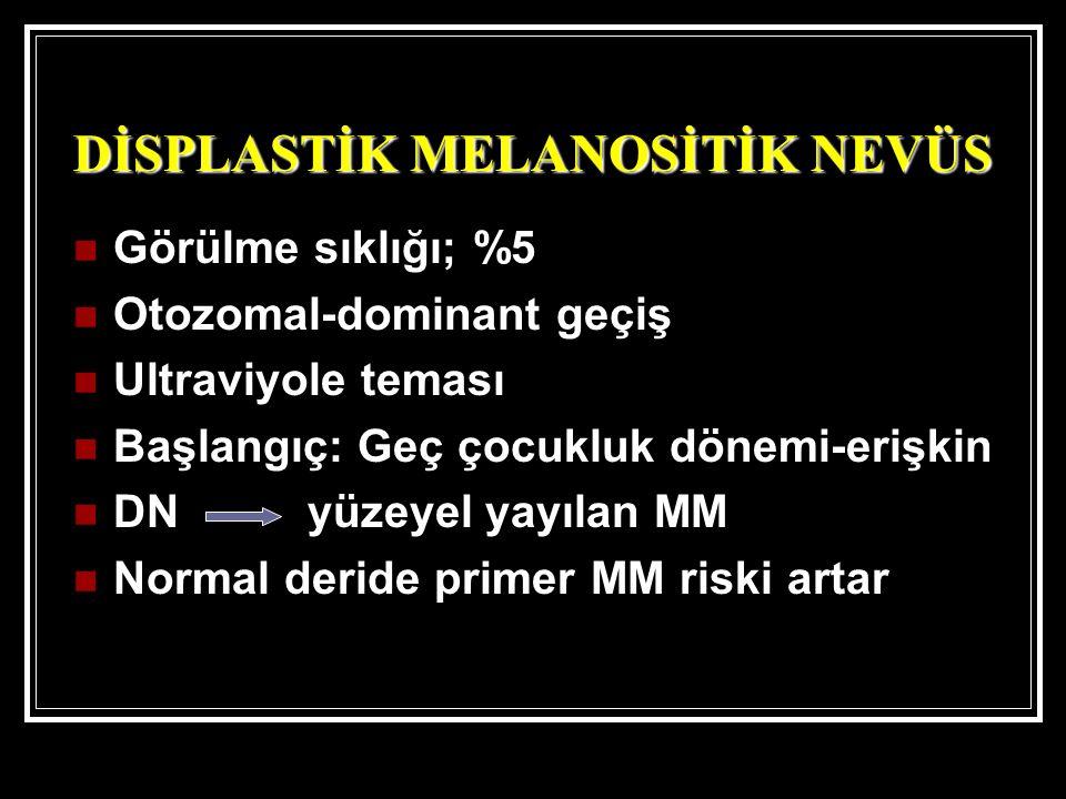 Görülme sıklığı; %5 Otozomal-dominant geçiş Ultraviyole teması Başlangıç: Geç çocukluk dönemi-erişkin DN yüzeyel yayılan MM Normal deride primer MM ri