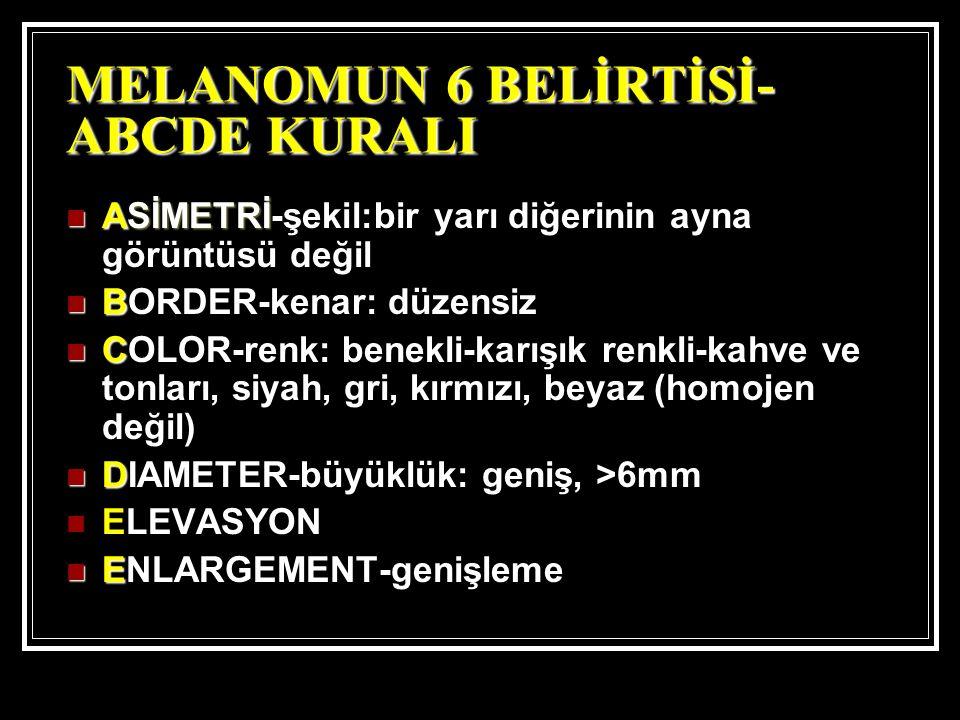 MELANOMUN 6 BELİRTİSİ- ABCDE KURALI ASİMETRİ ASİMETRİ-şekil:bir yarı diğerinin ayna görüntüsü değil B BORDER-kenar: düzensiz C COLOR-renk: benekli-karışık renkli-kahve ve tonları, siyah, gri, kırmızı, beyaz (homojen değil) D DIAMETER-büyüklük: geniş, >6mm ELEVASYON E ENLARGEMENT-genişleme