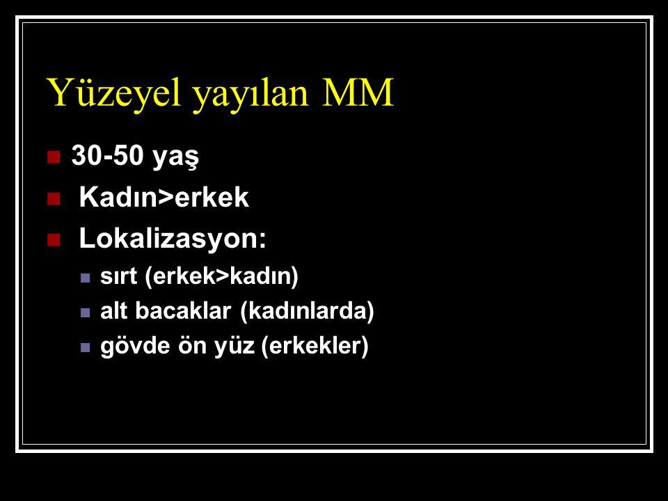 Yüzeyel yayılan MM 30-50 yaş Kadın>erkek Lokalizasyon: sırt (erkek>kadın) alt bacaklar (kadınlarda) gövde ön yüz (erkekler)