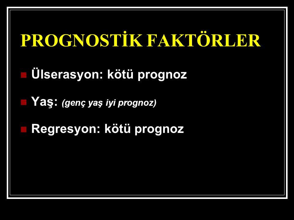 PROGNOSTİK FAKTÖRLER Ülserasyon: kötü prognoz Yaş: (genç yaş iyi prognoz) Regresyon: kötü prognoz