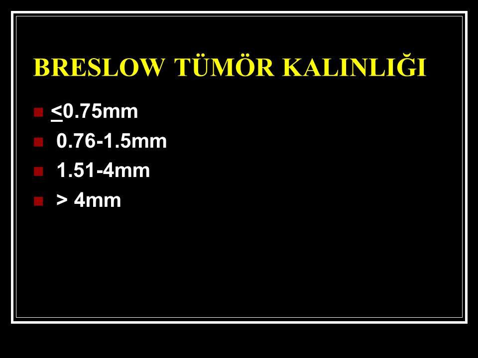 BRESLOW TÜMÖR KALINLIĞI <0.75mm 0.76-1.5mm 1.51-4mm > 4mm