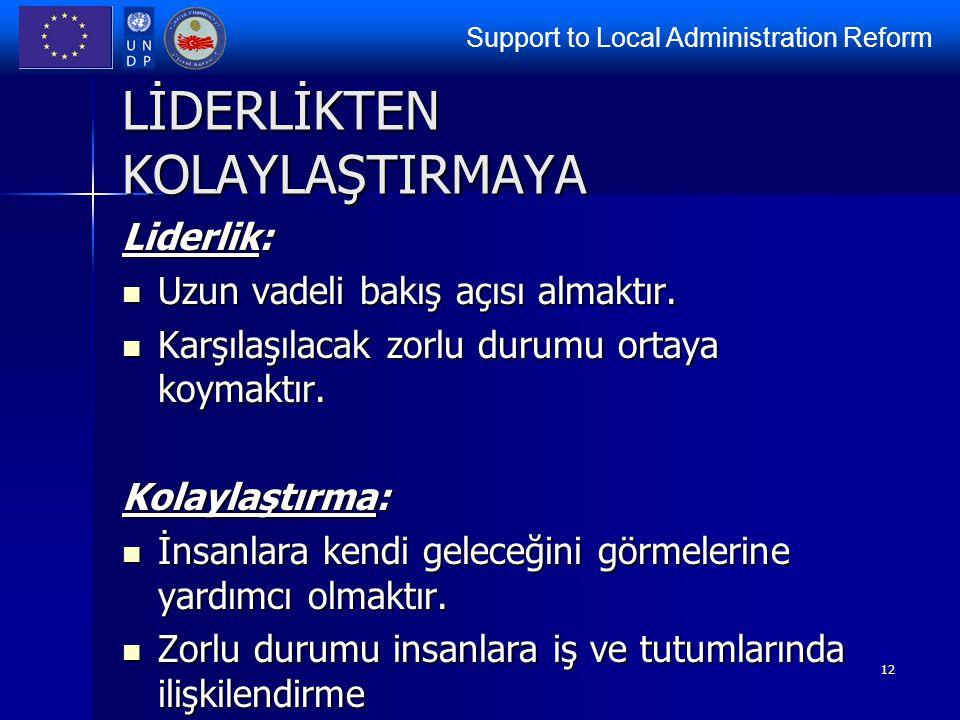 Support to Local Administration Reform 12 LİDERLİKTEN KOLAYLAŞTIRMAYA Liderlik: Uzun vadeli bakış açısı almaktır. Uzun vadeli bakış açısı almaktır. Ka