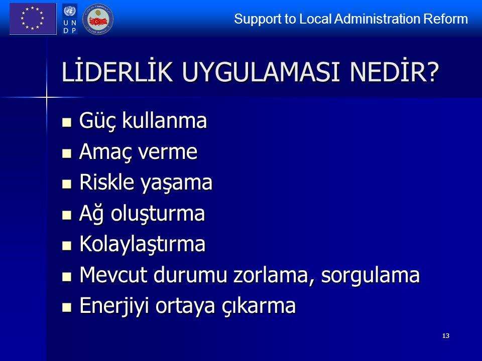 Support to Local Administration Reform 13 LİDERLİK UYGULAMASI NEDİR? Güç kullanma Güç kullanma Amaç verme Amaç verme Riskle yaşama Riskle yaşama Ağ ol