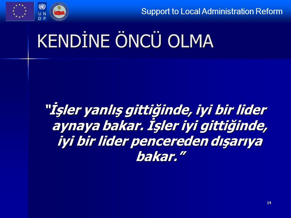 """Support to Local Administration Reform 14 KENDİNE ÖNCÜ OLMA """"İşler yanlış gittiğinde, iyi bir lider aynaya bakar. İşler iyi gittiğinde, iyi bir lider"""