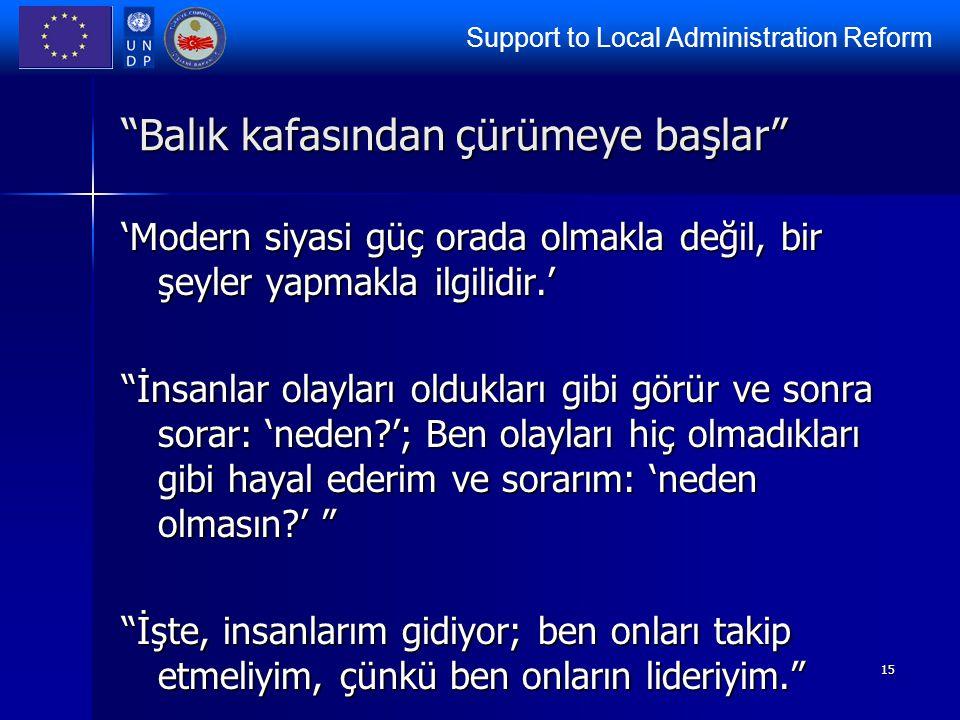"""Support to Local Administration Reform 15 """"Balık kafasından çürümeye başlar"""" 'Modern siyasi güç orada olmakla değil, bir şeyler yapmakla ilgilidir.' """""""