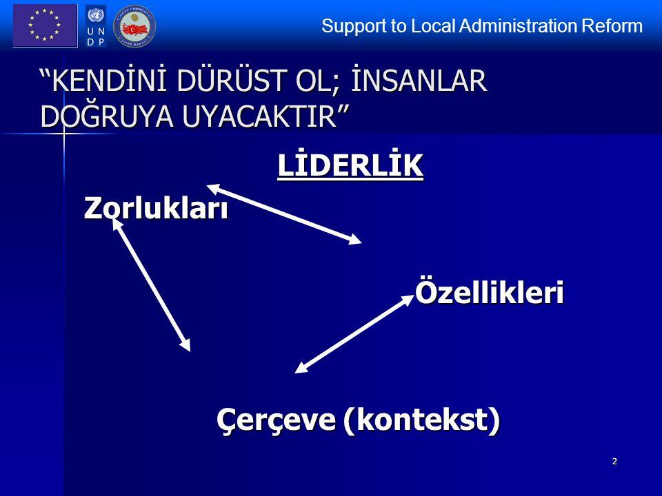 """Support to Local Administration Reform 2 """"KENDİNİ DÜRÜST OL; İNSANLAR DOĞRUYA UYACAKTIR"""" LİDERLİKZorluklarıÖzellikleri Çerçeve (kontekst)"""