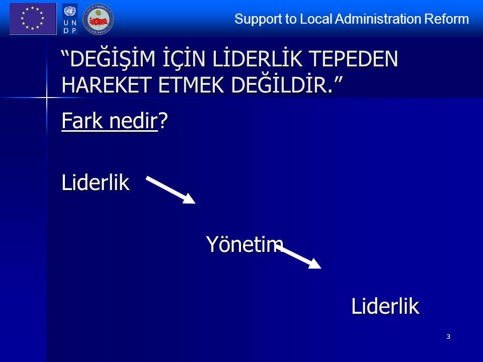 """Support to Local Administration Reform 3 """"DEĞİŞİM İÇİN LİDERLİK TEPEDEN HAREKET ETMEK DEĞİLDİR."""" Fark nedir? LiderlikYönetimLiderlik"""
