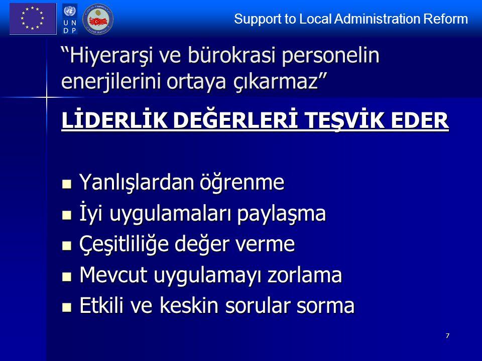 """Support to Local Administration Reform 7 """"Hiyerarşi ve bürokrasi personelin enerjilerini ortaya çıkarmaz"""" LİDERLİK DEĞERLERİ TEŞVİK EDER Yanlışlardan"""