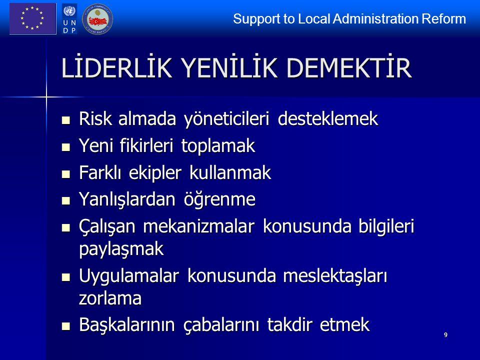 Support to Local Administration Reform 9 LİDERLİK YENİLİK DEMEKTİR Risk almada yöneticileri desteklemek Risk almada yöneticileri desteklemek Yeni fiki