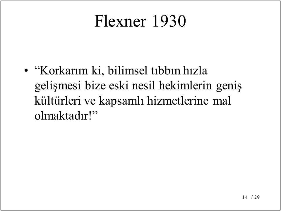 / 2914 Flexner 1930 Korkarım ki, bilimsel tıbbın hızla gelişmesi bize eski nesil hekimlerin geniş kültürleri ve kapsamlı hizmetlerine mal olmaktadır!