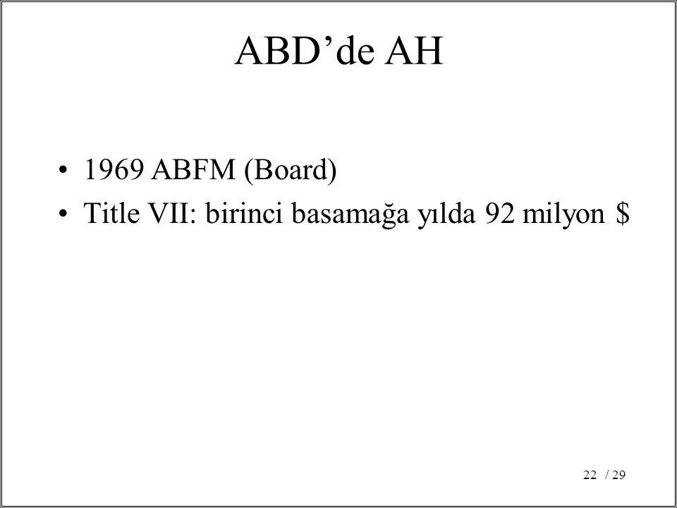 / 2922 ABD'de AH 1969 ABFM (Board) Title VII: birinci basamağa yılda 92 milyon $